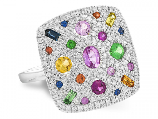 Multicolor Gemstone Ring - 14K White Gold Sappire, Ruby, Garnet & Diamond Ring