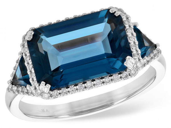 Blue Topax and Diamond Ring - Ladies 14K White Gold London Blue Topaz and 0.22 CTTW Diamond Ring