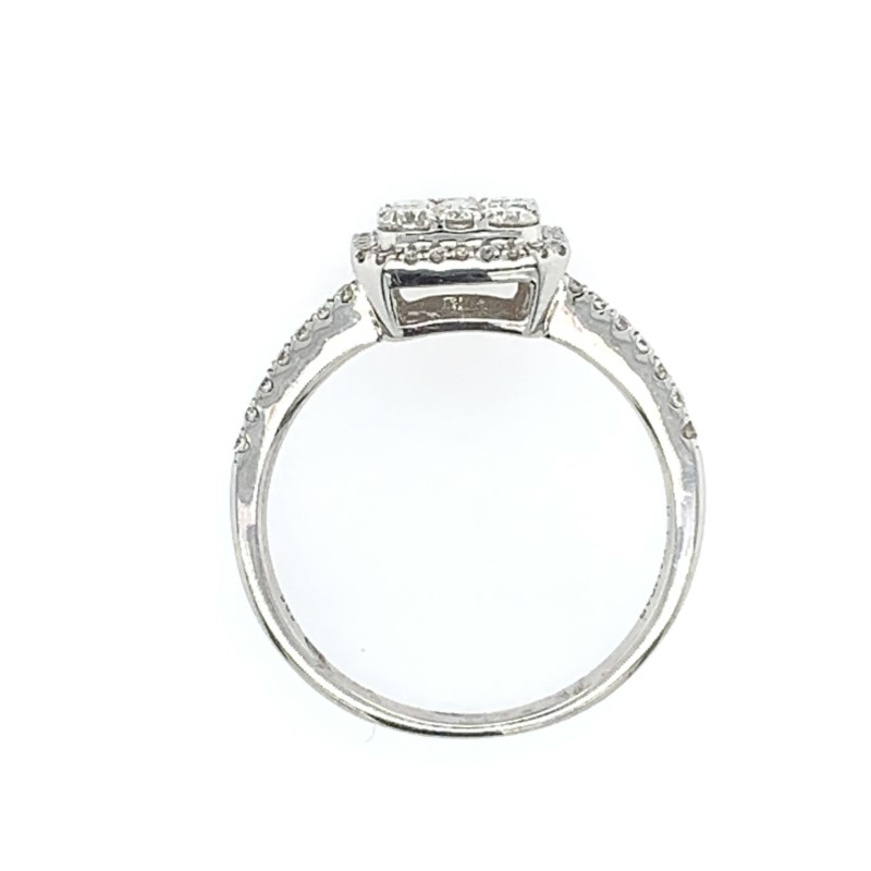 Diamond Engagement Rings - Diamond Cluster Engagement Ring - image 2