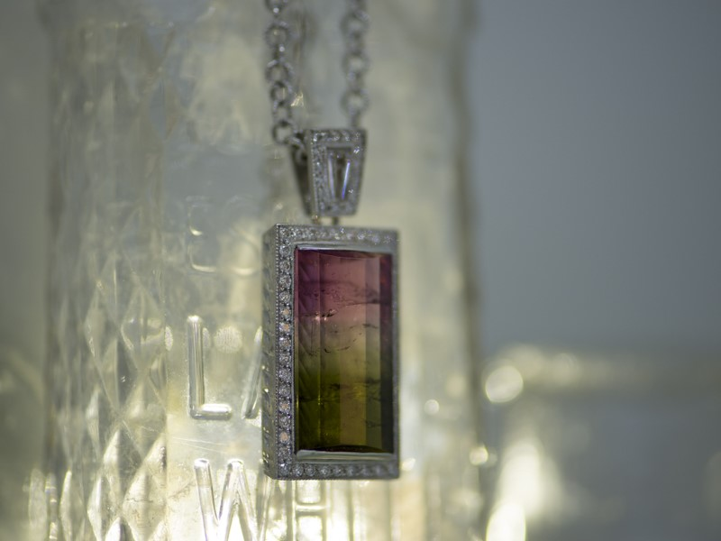 Colored Stone Pendants - Tourmaline & Diamond  Pendant - image #2