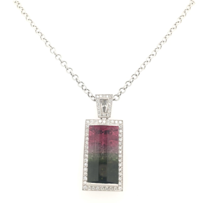 Colored Stone Pendants - Tourmaline & Diamond  Pendant