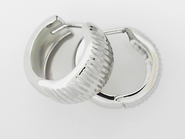 Precious Metal (no Stones) Earrings - White Gold Huggies - image #2