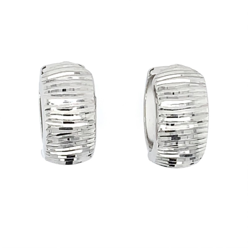 Precious Metal (no Stones) Earrings - White Gold Huggies