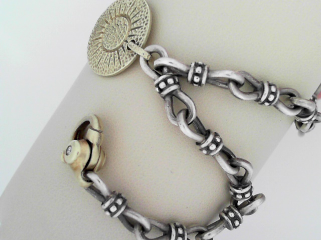 Ladies Silver Bracelets - S/S & 14K Yellow Gold Evil Eye Bracelet - image #2