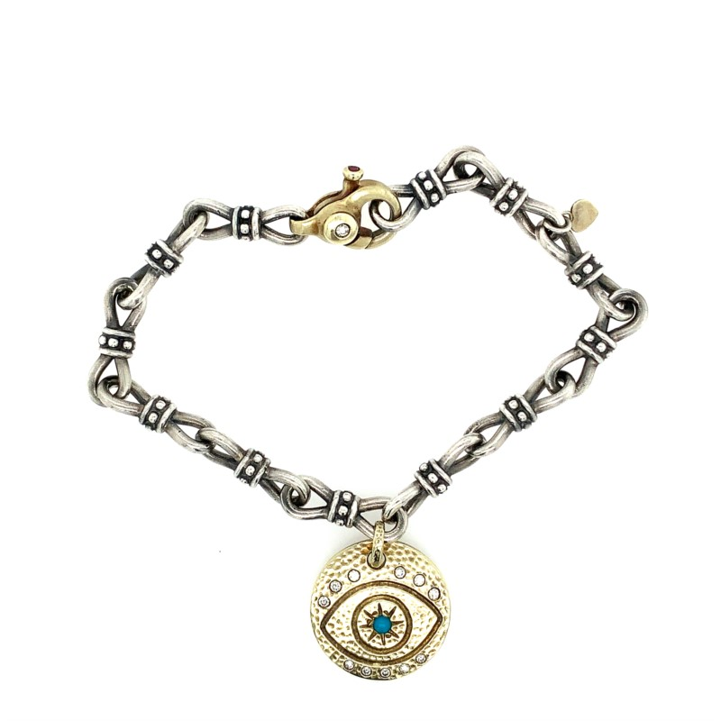 Ladies Silver Bracelets - S/S & 14K Yellow Gold Evil Eye Bracelet