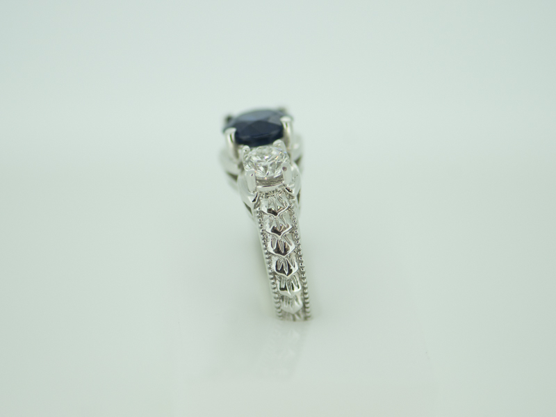 Rings - Sapphire & Diamond 14k White Gold Antique style Ring - image #3