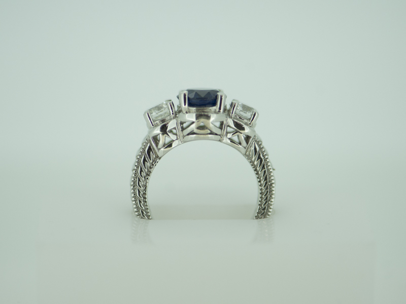 Rings - Sapphire & Diamond 14k White Gold Antique style Ring - image #2
