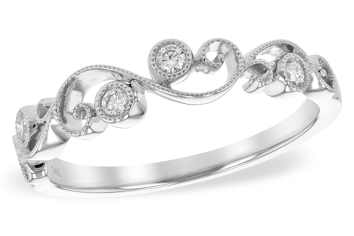 Swirl Diamond Ring - 14 Karat White Gold Diamond Swirl Band w/ 0.10cttw of Diamond Accents and Milgrain Detailing