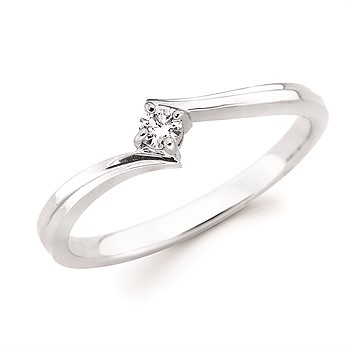 Sterling and Diamond Promise Ring - Made of sterling silver, this size 6.5 promise ring features a vibrant .07ct center round diamond.