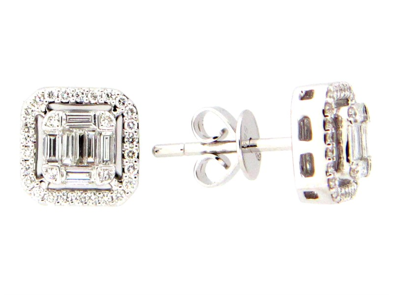 Diamond Cluster Earrings - Emerald cut shape Diamond cluster center and Diamond halo stud earrings made of 14K White Gold w/ diamonds weighing 0.51cttw