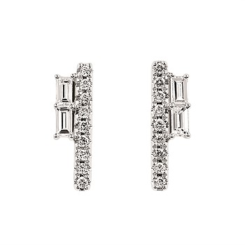 Diamond Line Earrings - Made with 0.25 carats total of diamonds, these earrings are set with emerald and round cut diamonds in a modern and sleek style.
