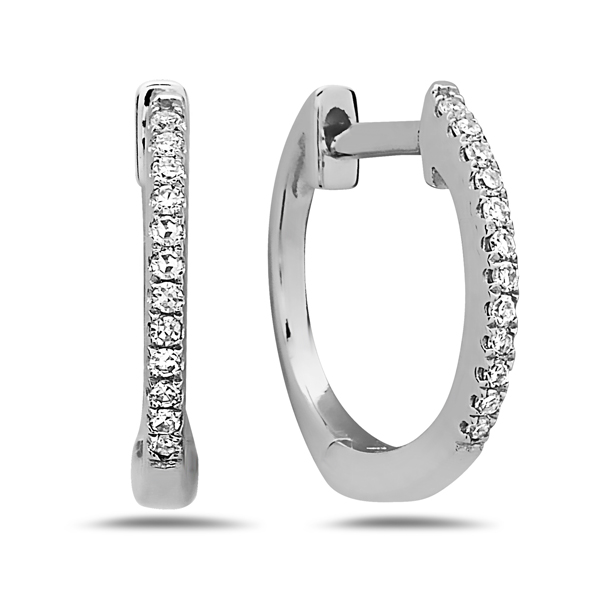 Small Diamond Hoops - Made in 14 karat white gold, these smaller diamond hoop earrings are set with 0.08 carats total of round diamonds and are perfect for everyday wear or elevating an already elegant look.