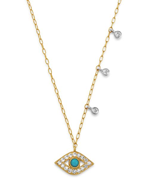 14K Turquoise and Diamond Evil Eye Necklace - This dainty 14K white and yellow gold evil eye adjustable necklace features a round turquoise center surrounded by diamonds.  The 18