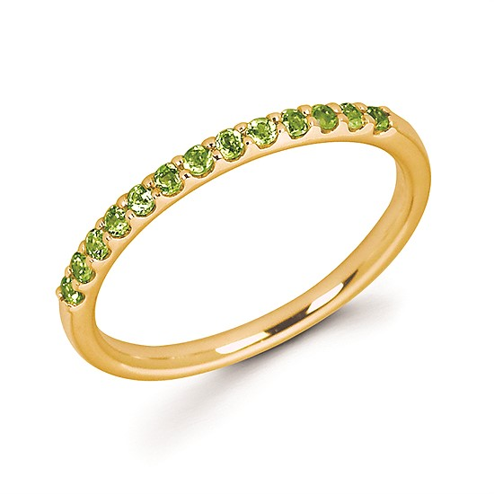 Stackable Birthstone Ring - Made in 14 karat yellow gold, this ring celebrating August birthdays is set with 13 peridot stones, is made in size 6.5, and is perfect for stacking!