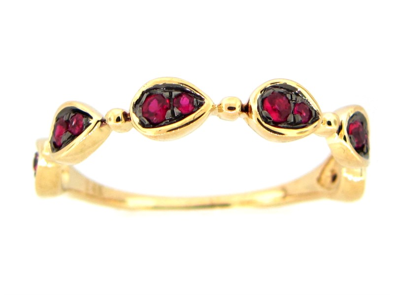 Fashion Ring - 14ky stackable ruby band with mosaic of rubies 0.23cttw