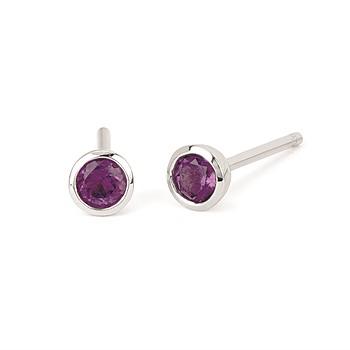 Earrings - Sterling silver bezel set amethyst earrings