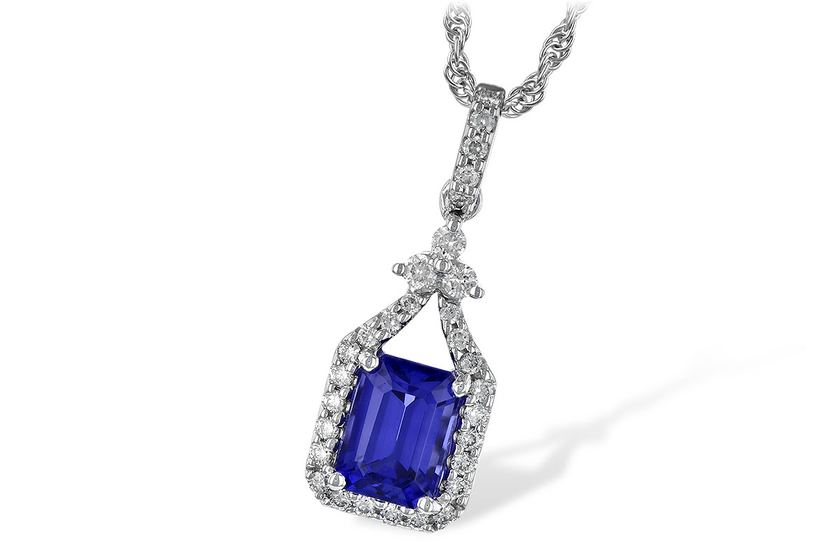 Tanzanite Pendant - 14kw emerald cut tanzanite and diamond necklace with 1.42ct tanz and .30ct dia