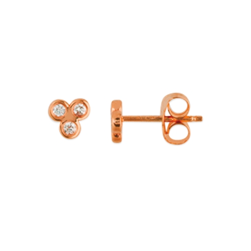 Rose Gold Trinity Earrings - 14 Karat Rose Gold Stud Earrings Mounted w/ 1/10cttw of Diamond Accents