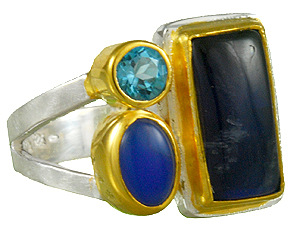 Gemstone Ring - Sterling silver and 22KT gold vermeil ring with rainbow moonstone, blue agate, and baby blue topaz