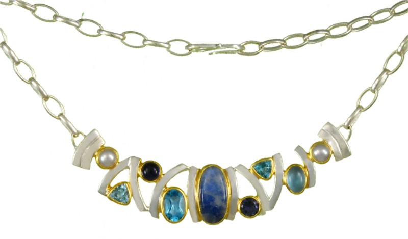 Mixed Gemstone Necklace - Sterling silver and 22KT gold vermeil necklace with peach moonstone, pearl, swiss blue topaz, iolite, baby blue topaz, and painted rainbow moonstone.