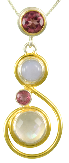 Gemstone Pendant - Sterling Silver and 22kt Vermeil Pendant with blue chalcedony, imperial pink topaz