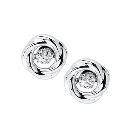 Shimmering Diamonds Knot Stud Earrings - Shimmering Diamonds sterling silver stud earrings with .14CT diamonds.