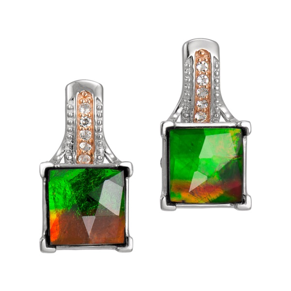 Korite Ammolite Earrings - Raye Accent Sterling Silver Topaz Faceted Square Earrings by Korite Ammolite