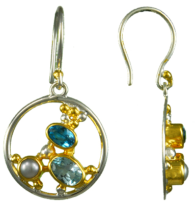 Gemstone Cluster Earrings - Sterling silver and 22kt vermeil earring with pearlk, sky and baby blue topaz