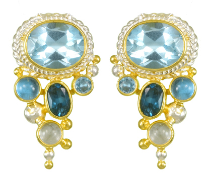 Gemstone Cascade Earrings - Sterling silver and 22kt vermeil drop earring with sky blue topaz, london blue topaz, and baby blue topaz