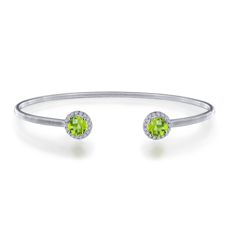 Peridot Cuff Bracelet - August - Peridot. Adorn yourself with Lafonn's birthstone jewelry. This flexible stackable open cuff halo bangle bracelet is set with Lafonn's signature Lassaire simulated diamonds and genuine peridots. Bracelet is in sterling silver bonded with platinum.