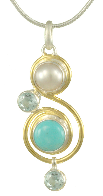 Gemstone Swirl Pendant - Sterling silver and 22k gold vermeil pendant with turquoise, pearl, and blue topaz on 18