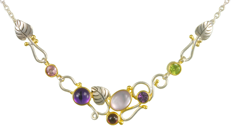 Nature Inspired Gemstone Necklace - This stunning sterling silver nature-inspired necklace features 22K gold vermeil accents and is set with Rose De France Amethyst, Mother of Pearl, Rhodolite Garnet, Mystic Fire Quartz, Imperial Pink Topaz, African Amethyst and Peridot