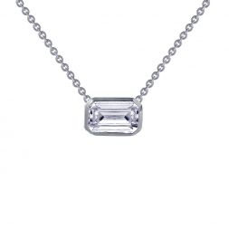 Emerald Cut Diamond Necklace - Lafonn Monte Carlo Sterling Silver Platinum Plated Lassire Simulated Diamond Necklace (1.99 cttw)