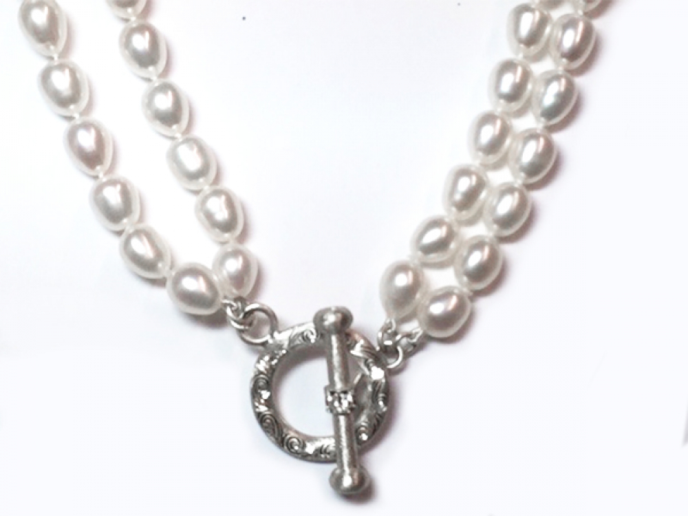 NWT Next long double silver necklace with large beads and charms