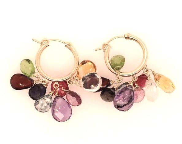 Earrings - Lady's Yellow 14 Karat Medium Hoop Earrings With 18= Pear Shape Stones (Amethyst, Citrine, Rubelite Quartz, Pink Topaz, Peridot, Garnet, Iolite)
