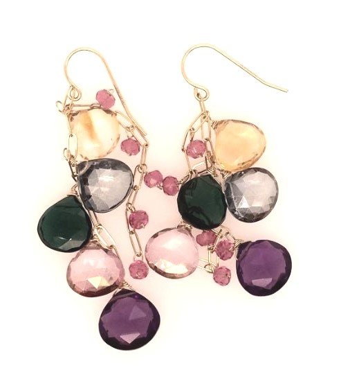 Earrings - Lady's Yellow 14 Karat Drop Earrings With 20= Various Shapes Stones(Amethyst, Citrine, Pink Topaz, Iolite, Pink Tourmaline, Green Tourmaline)