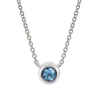 Necklace - Lady's White 10 Karat Bezel Necklace Length 18 With One 3.70Mm Round Blue Topaz