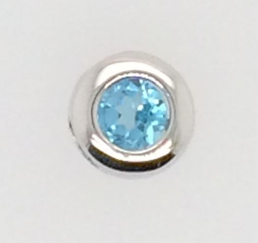 Slide - Lady's Sterling Silver Slide With One 4.00Mm Round Blue Topaz, December Birth Stone Slide