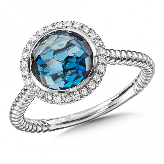 Designer Silver Jewelry - Lady's 14 Karat White Gold Colore Ring With One Round London Blue Topaz And 27=0.10Tw Round Diamonds