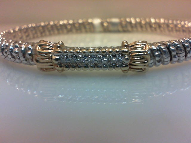 2e42db46ac6671 Alwand Vahan Designer Jewelry - Lady's 14Kt Yg Sterling Silver Closed Band Bangle  Vahan Designer With