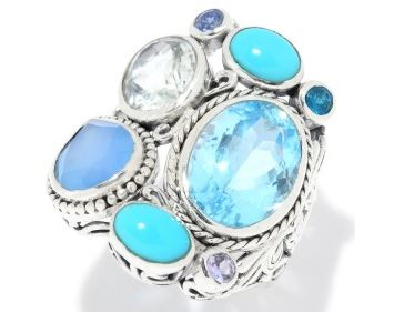Ring - Blue Topaz Multi Stone Sterling Silver Ring