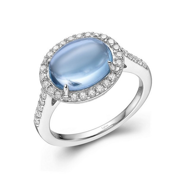 Lafonn Jewelry - Lady's Simulated Sky Blue Topaz And Sterling Silver Lafonn Halo Ring