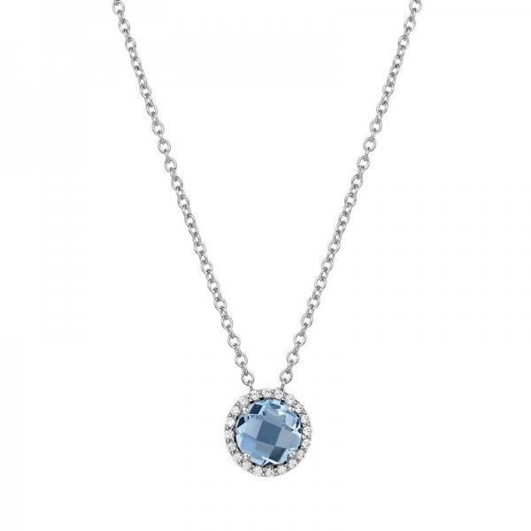 Lafonn Jewelry - Lady's Simulated Diamond & Blue Topaz Sterling Silver Lafonn Pendant On 18