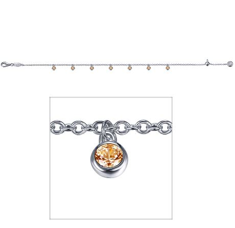 Lafonn Jewelry - Lady's Sterling Silver Syn Yelllow Topaz Adjustable Bracelet Lafonn Jewelry With 7=0.60Tw Round Cubic Zirconiums