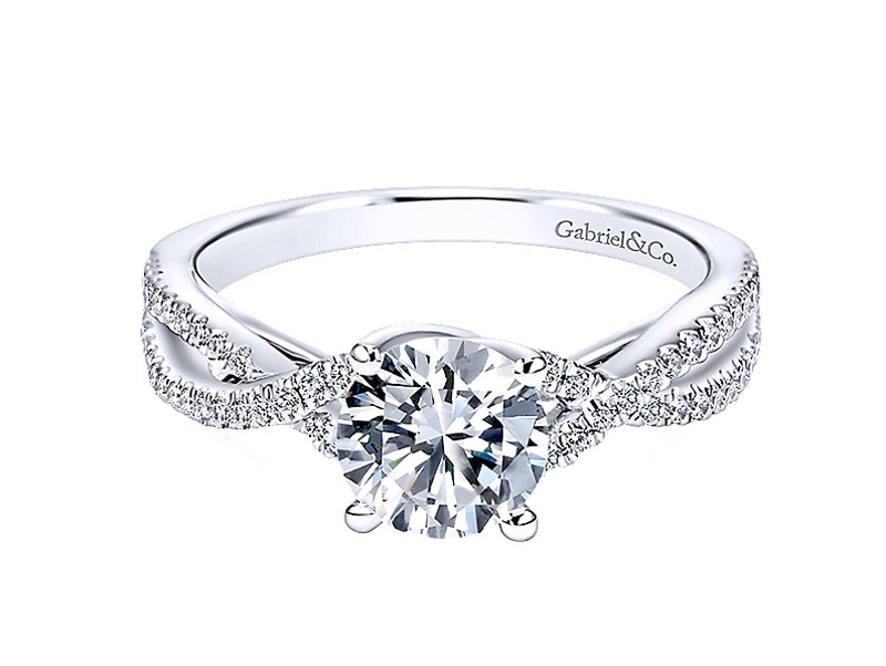 Gina - 14kt white gold Gabriel & Co diamond semi-mount engagement ring with .24ct total weight. This is a beautifully intertwined band wrapped around an elegant diamond center stone in this 14K white gold engagement ring. Center stone sold separately.