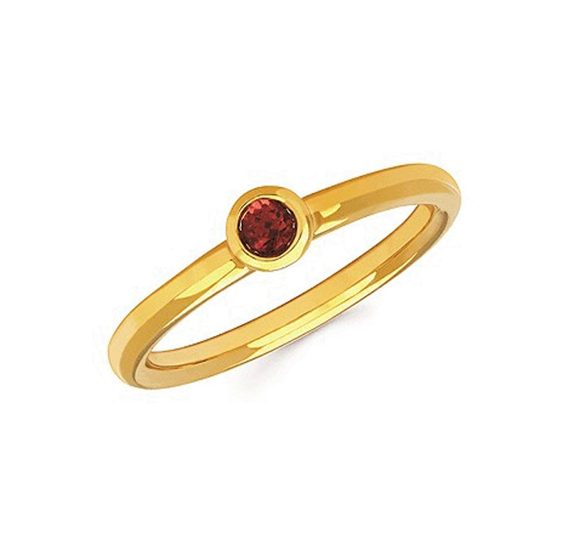 Sterling Silver Stackable Garnet Ring - Sterling silver stackable Garnet ring