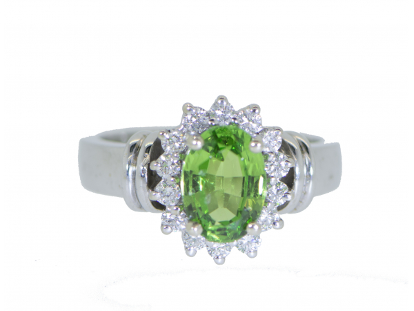 14kwg Tsavorite Garnet and Diamond Ring - 14kwg Tsavorite Garnet and Diamond RingTsavorite: (1) = 1.88cts Oval FacetedDiamonds: (14) = .35cts tw Round Brilliant Cuts