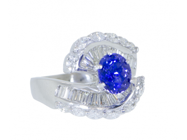 Colored Stone Rings  -  Women's - Platinum Color Change Sapphire and Diamond Ring