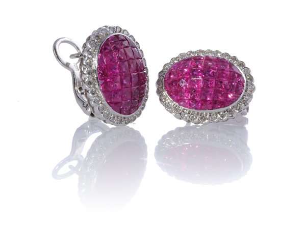 18k Ruby & Diamond Earrings - 18kwg Invisible Set Ruby and Diamond EarringsRubies: (79) = 7.50cts twDiamonds: (56) = .85ct tw