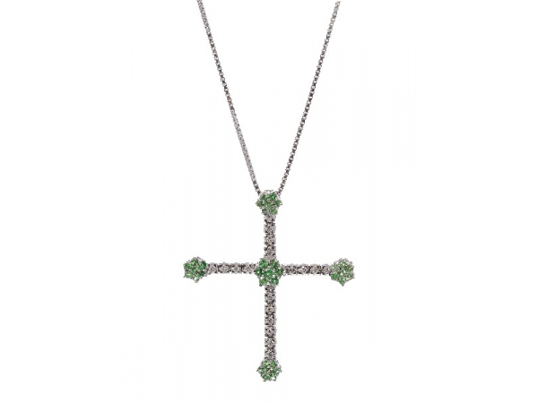 14KWG Tsavorite Garnet & Diamond Cross Pendant - 14KWG Tsavorite Garnet & Diamond Cross PendantTsavorite Garnet: (35) = 0.80ct tw Round FacetedDiamonds: (19) = 0.25ct Round Brilliant Cut